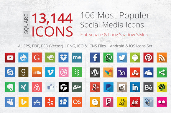 212 Flat Square Social Media Icons