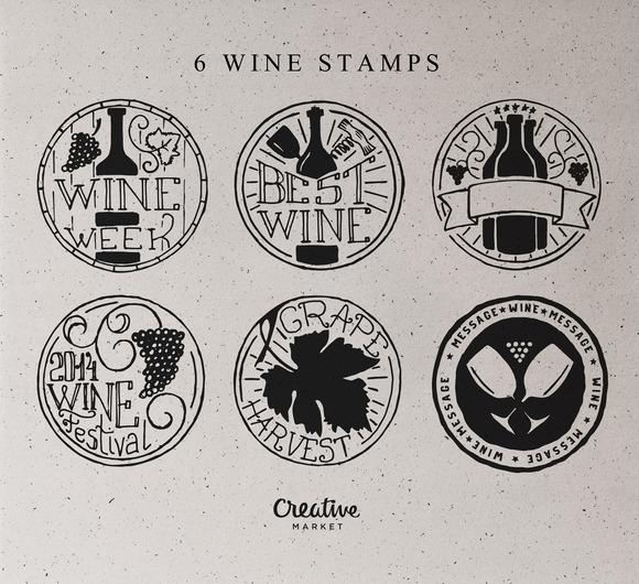6 Wine Stamp Badges Logos
