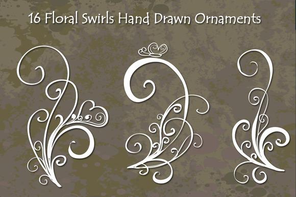 Floral Swirls Hand Drawn Vector