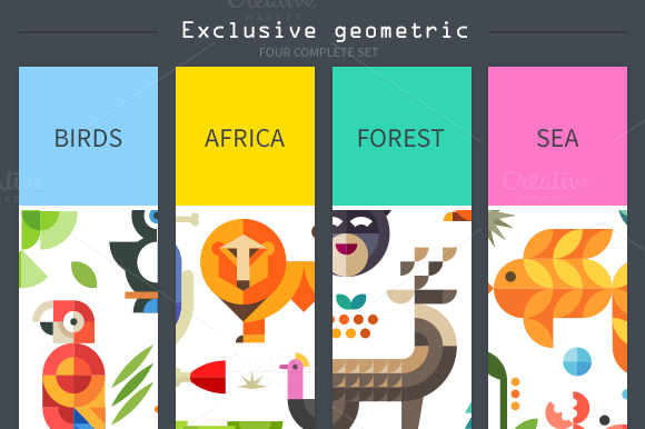 Magic Animal World Geometric Flat