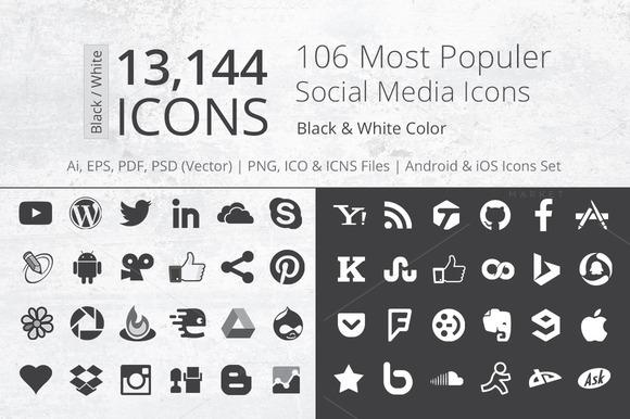 212 B W Social Media Icons