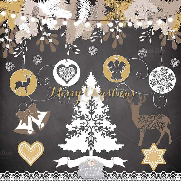 Chalkboard Gold Christmas Clipart