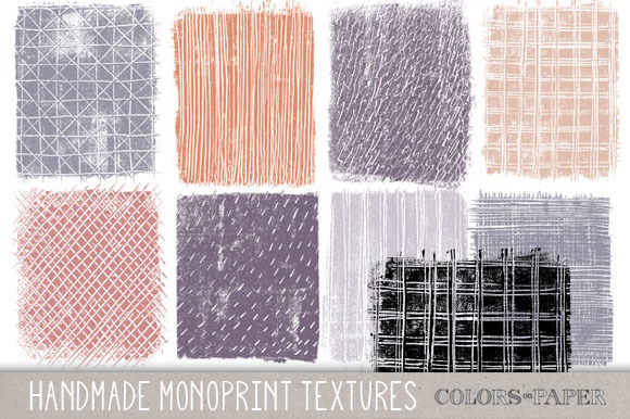 Monoprint Textures Clipart Brushes