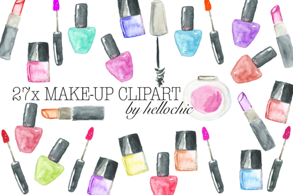 Watercolor Make-Up Cliparts