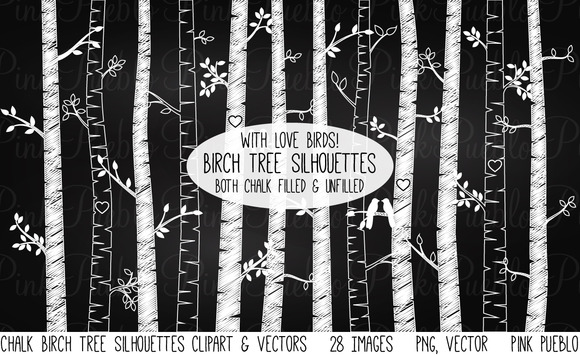 Chalkboard Birch Tree Clipart Vector