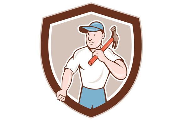 Builder Carpenter Holding Hammer Shi