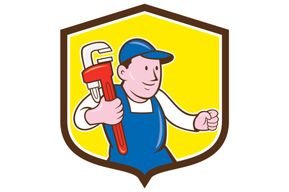 Plumber Holding Monkey Wrench Shield