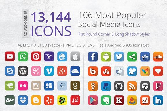 Flat Round Corner Social Media Icons