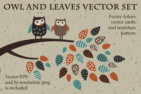 Owl And Leaves Funny Vector Set