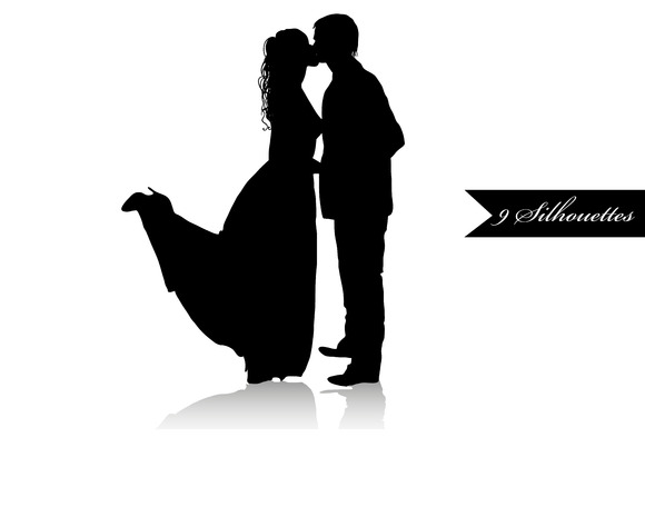 Set 9 Romantic Couples Silhouettes