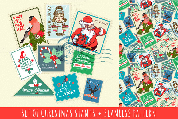 Set Of Seamless Christmas Stamps