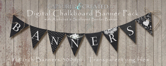 9-Digital Chalkboard Banner Pendants