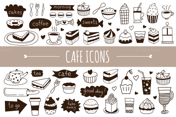 Hand Drawn Cafe Icons Patterns
