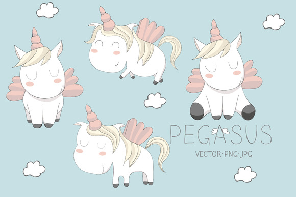 Cute Pegasus Illustrations Set