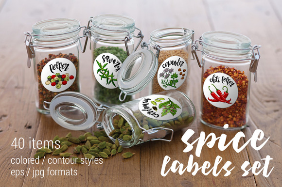 Spices And Herbs Labels Set