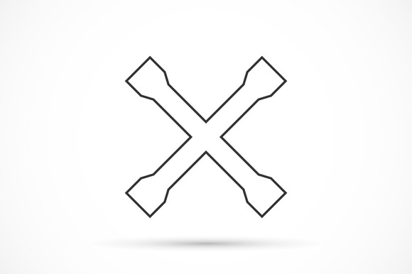 Crossed Car Wrench Outline Icon