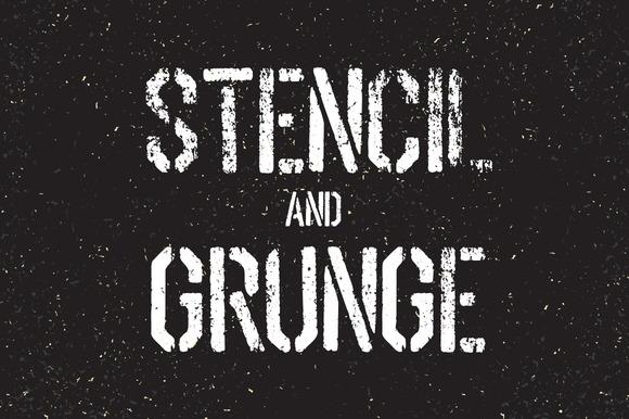 Stencil Font And Grunge Textures Set