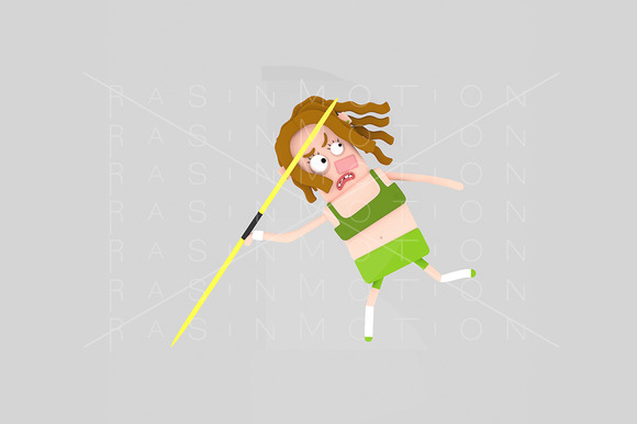 3D Illustration Javelin Woman