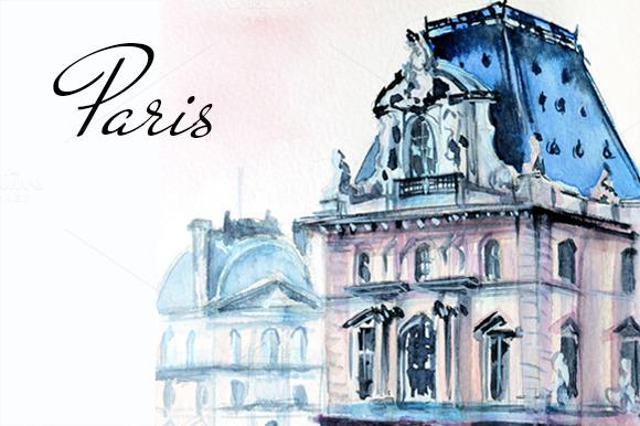 Paris Louvre Museum Illustration
