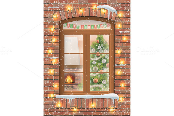 Christmas Interior Through Window