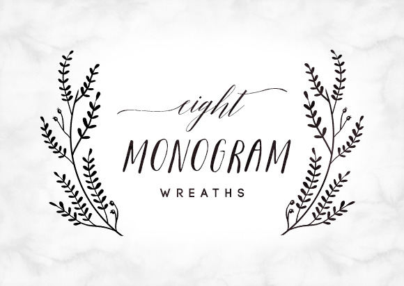 8 Hand Drawn Wreaths For Monograms