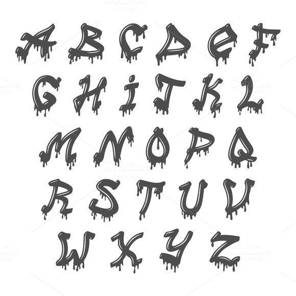 Grunge Full Alphabet Vector