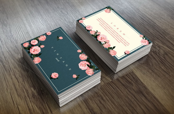 Floral Card Template Vintage Style