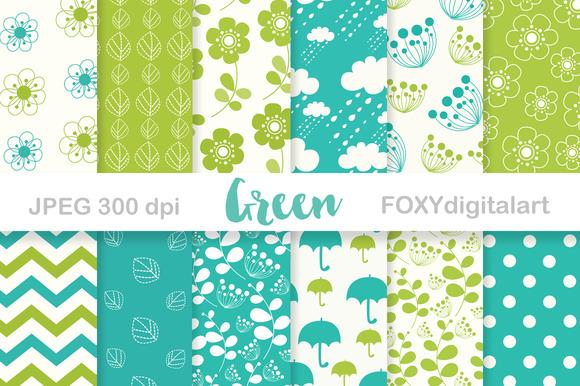 Green Digital Paper Pack Scrapbook