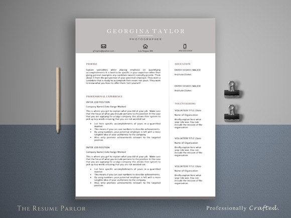 Resume Template 4 Page Artist CV