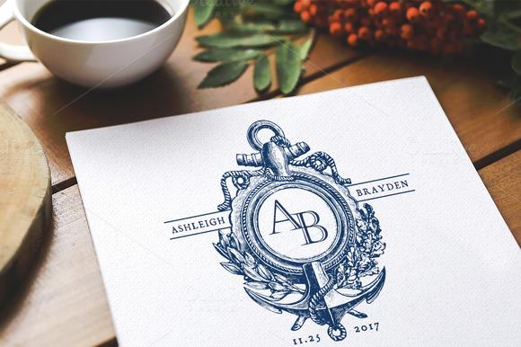 Anchor Nautical Wedding Monogram