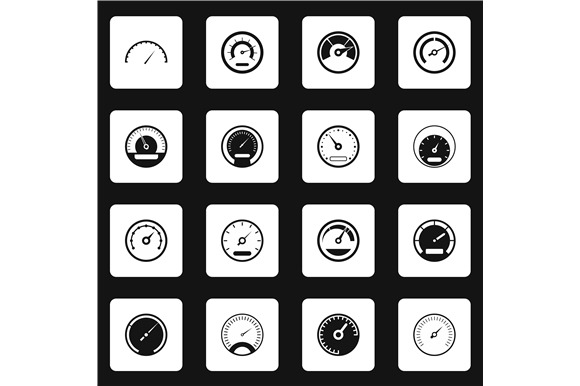 Speedometer Icons Set Simple Style