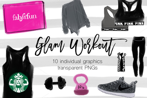 Glam Workout Clipart Set