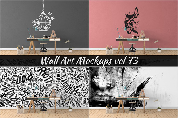 Wall Mockup Sticker Mockup Vol 73