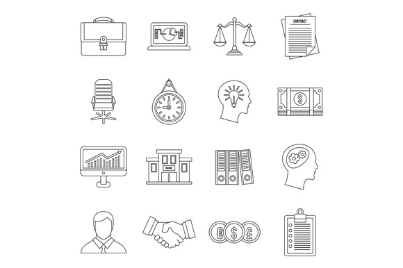 Banking Icons Set Outline Style