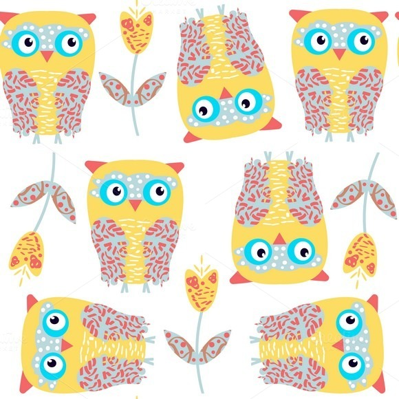 6 Vector Owls Patterns