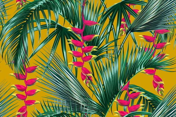 Tropical Leaves Flowers Pattern