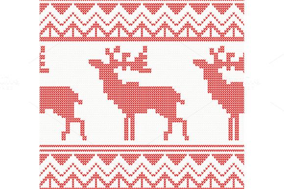 Knitted Deer Seamless Pattern