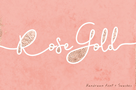 Rose Gold Font Swashes