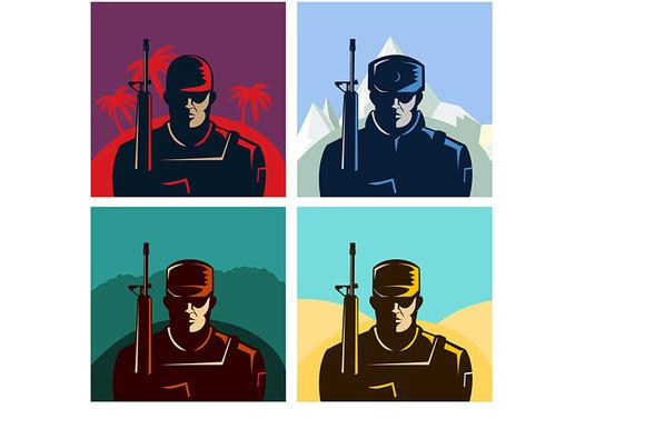 Soldier Badges Or Avatars Set