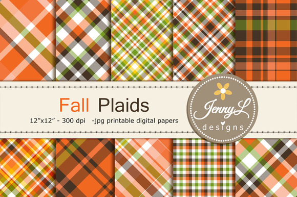 Fall Autumn Plaid Digital Papers