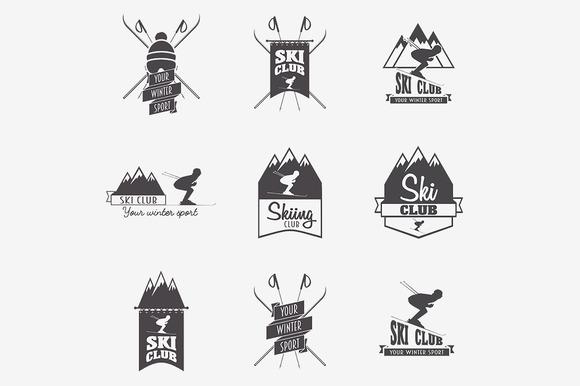 Set Of Ski Club Logo Templates