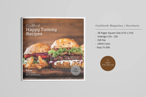 Square Cookbook Magazine Brochure