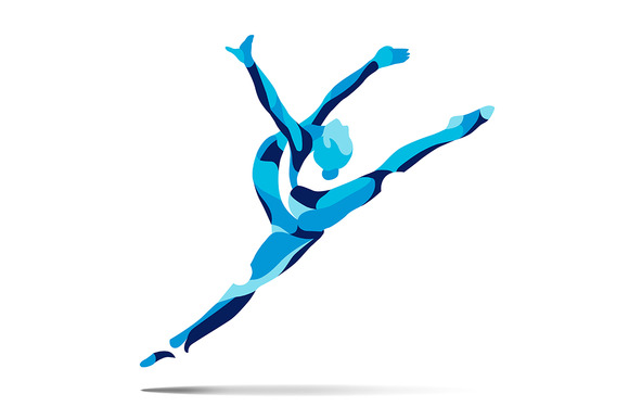 Stylized Silhouette Of Gymnastics