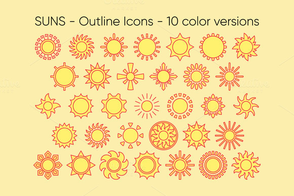 SUNS Outline Icons 10 Versions