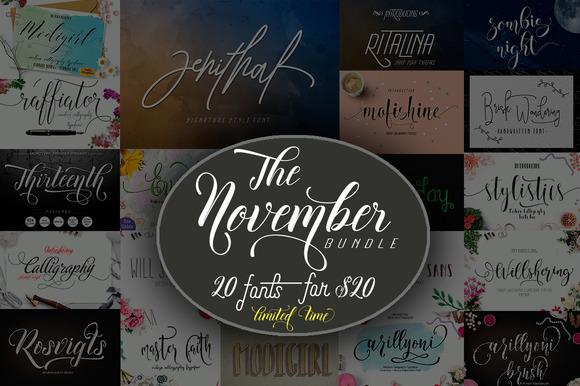 The November Bundle-20 Fonts For $20