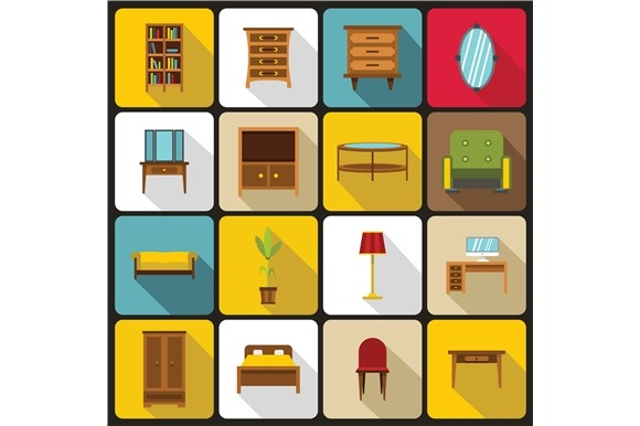 Furniture Icons Set Flat Style