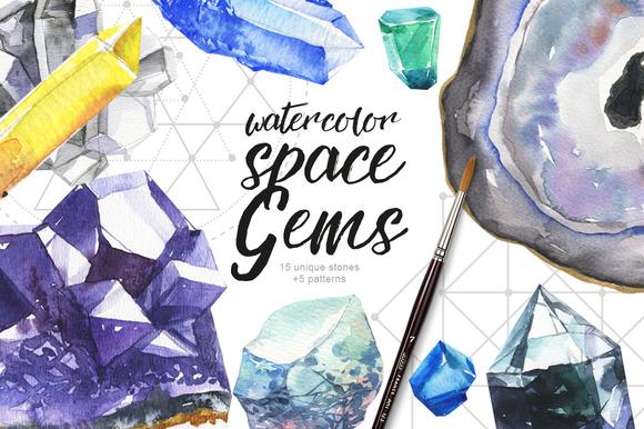 Watercolor Space Gems