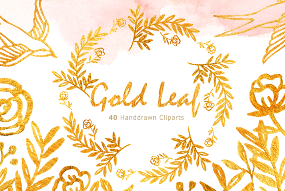 Gold Leaf Watercolor Clipart