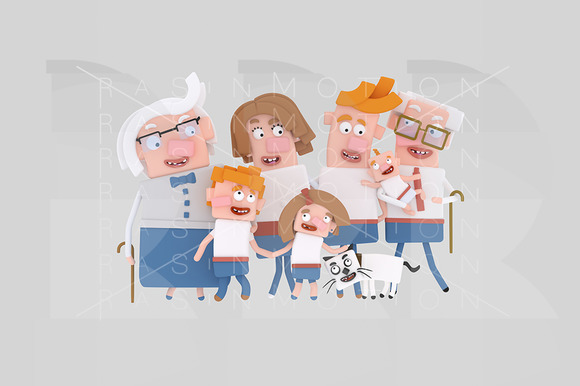 3D Illustration Big Family