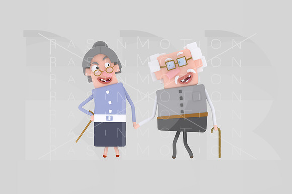3D Illustration Old Couple